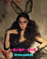 Queen fashion ruslana korshunova lace mask cosplay rabbit ears lace veil