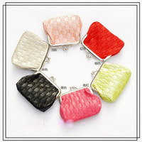 Candy color women pu knit small coin cases 7.5x9cm 6 colors 12 pcs MOQ color random free shipping