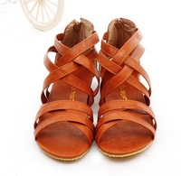 new arrival 2014 straps women sandals flat heel fashion design female summer shoes sandal for woman plus size 34-42 free ship