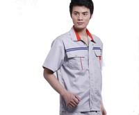 20sets [Free ship] Work wear set male short-sleeve work wear workwear cleaning service mechanic work clothes full set