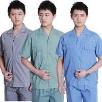 20sets [Free ship] Short-sleeve work wear workwear set male summer short-sleeve uniform  factory uniforms full sets