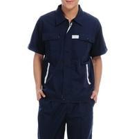 20sets [Free ship] 2014 work wear set male summer workwear short-sleeve tooling  factory uniforms full sets