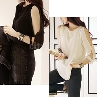 2014 New Korean Womens Fashion Cut Out Open Shoulder Loose Shirt Chiffon Blouse Tops