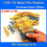 1/4W 0.25W 122valuesX10pcs=1220pcs Metal Film 1% Resistor Kit Resistor Pack for DIY  Free Shipping