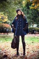 Navy blue double-breasted women's autumn and winter wild bat sleeve woolen cape coat jacket wholesale