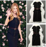 2014 Summer Top Fashion Women Bandage Dress High Quality Brand Black Slim Dresses Elegant  Celebrity  Party Dresses With Belt