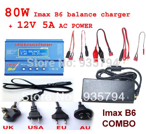 Free shipping 80W IMAX B6 Digital RC Lipo NiMh Battery Balance Charger AC POWER 12V 5A Adapter 2S-6S 7.4V-22.2V(China (Mainland))