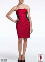 Free Shipping Custom Made Short Strapless Satin Dress with Lace Bands Style F15629 Evening/Homecoming/Prom Dresses In Stock