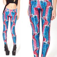 Novelty & Stylish Colored Cartoon Animal Design Blue Red Leggings Women Fashion Pants