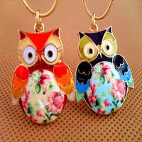 Exquisite Glaze Color Drops Owl Pendant Necklaces Female Girls Fashion Vintage Necklaces Jewelry N027