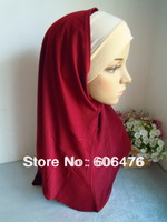 mu1408 free shipping wholesale price two piece high quality muslim hijab solid colot with inner hat islamic hijab