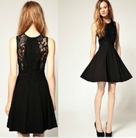 New Fashion Summer casual O-Neck Sleeveless  Embroidery lace one-piece Dress For Women Black Tunic Peplum Dress Size S -XL