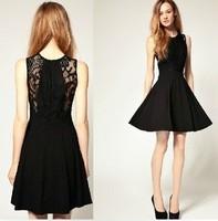 Women Summer Dress New 2014 Fashion Embroidery O-Neck Sleeveless Lace Dress Casual Women Dress B0174