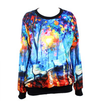 New watercolor lovers loose round neck printed sweater special design WY-1004-3 , free shipping