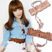 Belt female fashion pear cutout flower tassel elastic cummerbund elastic waist belt