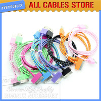 1000 Pcs A lot Factory price SYNC Charging Cable for iphone 4 For ipad Fabric Nylon Braided USB Round Cord whole Sale