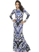 Free Shipping 2014 Spring Autumn Runway  Fashion High Quality Long Sleeves Floor-Length Vintage Sheath Long Dress + Size XXL