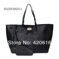 2014 Fashion New black leather 'Dorset' Large tote Women Genuine Leather Shoulder Handbags Designer Brand bags Free Shipping