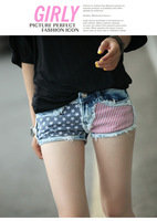 2014 Summer Fashion Women Korean Style US National Flag Demin Shorts Women's Fashion Low-waist Shorts