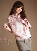2014  New Women's Sweet Style Ball Embellished Lace-up Hollow Out Hooded Batwing Sweater Pink
