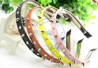 PU leather rivet Hairband tie hair hand hoop tools Maker bangs forehead decoration head band  CN post
