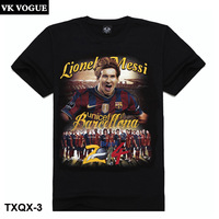 VK VOGUE High Quality Men's Clothing Fashion Ball Star Series 3D Messi Print O-Neck Couple short-sleeve T-shirt TXQX-3