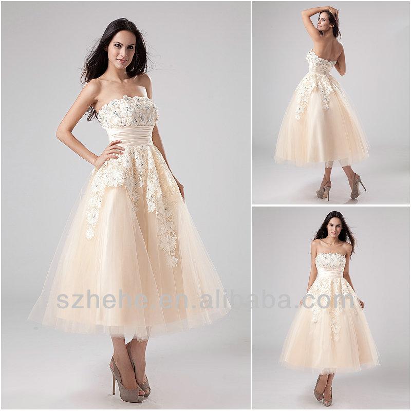 Popular Champagne Tea Length Wedding Dresses