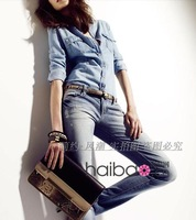 Spring and autumn fashion slim denim shirt female pearl buckle denim casual shirt medium-long shirt female