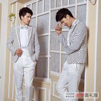 Suit male set blazer male formal wedding dress groom formal dress loaded costume