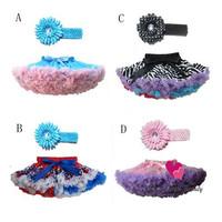 New 2013 Baby Girls Rainbow Chiffon Fluffy Pettiskirts Tutu Girl Colorful Princess Party Dance Christmas Skirts With Headband X4