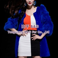 BG29649 Free Shipping  Natural Fur Rex Rabbit Fur Clothing With Fox Fur Wholesale Retail Winter Long Women Fox Fur Clothing