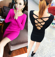 2013 autumn and winter long-sleeve ladies small cross-strap racerback tight-fitting package skirt one-piece dress slim hip