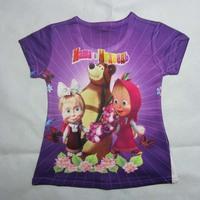 summer baby girls coke cartoon boy clothes unisex children short sleeve the mountain 3d masha and the bear t-shirt kids blouse