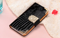 Diamond leather wallet cover case for iphone 5S 5 delicate crocodile style with card holder Free shipping