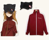 EVA Evangelion Asuka Langley Soryu Jacket Cosplay Costume Hoodie Cat Ear Hat S M L XL XXL Hoodie + Hat