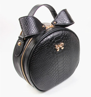 2014 New Arrival Womens Leather Handbags Sweet Girl Messenger Bag Small Shoulder Bag Round Bow Designer Famous Brand Totes Bag