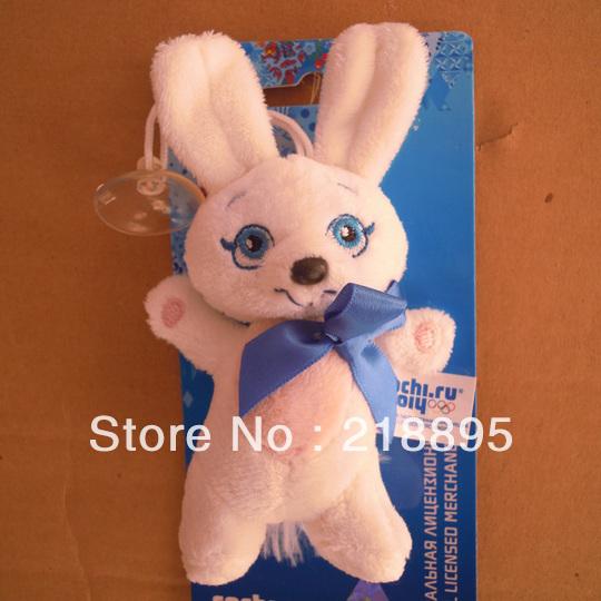 Freeshipping lebre coelho de brinquedo da boneca de pelúcia macia mascote souvenir jogos olímpicos de inverno de sochi rússia 2014; pp algodão 13*8*3cm