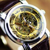 New Arrival Winner Men Mechanical self-wind watch, Hollow Skeleton Mechanical Men fashion Leather Strap Watches