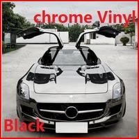 1 pc 1.52*0.5M Black chrome vinyl chrome car wrap electroplate vinyl film chrome car sticker with bubble free FREESHIPPING TTT