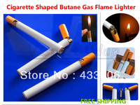 Free Shipping Reative Cigarette Shaped Refillable Butane Gas Flame Windproof Cigarette Cigar Lighter Same Size As Cigarettes