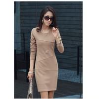 New 2014  Women's OL Dress Long-sleeve Basic Dress Elegant Plus Size Slim Above Knee One-Piece Dress Plus size S-XXXL W3347
