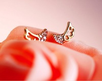 Min. order $15 (mix order) Free Shipping Fashion Women  Wind Temperament Exquisite Super Hollow Angel Wings Earrings E183