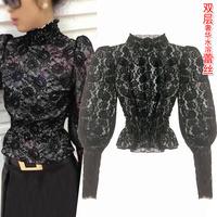 Original design winter fashion vintage royal female lantern sleeve skirt lace shirt