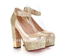 NEW Paillette thick heel high-heeled shoes gold silver wedding shoes platform strap belt bridal shoes bridesmaid shoes,Eur 35-39