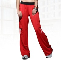 Fitness clothing aerobics clothing female dance pants fitness pants yoga pants red