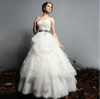 2014 new lace bandage  design fairy training wedding dress 022F
