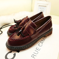 Free Shipping 2014 New Fashion Spring and Autumn Gommini Platform Loafers Vintage Women's Casual Flat Heel Single Shoes
