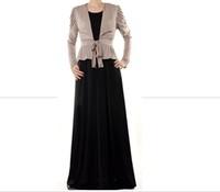 2014 New design girl abaya islamic clothing for women muslim long dress two piece suit dubai abaya floor length dress large size