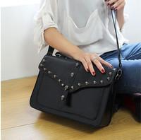 purse women Vintage one shoulder cross-body women's handbag  double faced skull rivet shaping messenger   shoulder bags suitcase