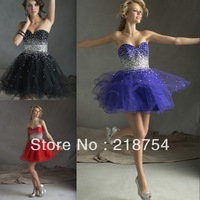 Sparkle Sweetheart A-line Purple Organza Beaded Mini Short Girls Prom Dresses Party Homecoming Graduation Gown 2014 Stunning